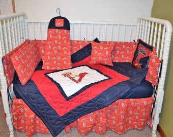 New Custom made Crib Bedding Set m/w St Louis Cardinals Fabric