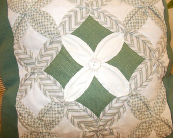 Cushion cover for 45cm cushion pad, cathedral windows. Central block in green and cream  upcycled bedlinen  with new  jersey backing.