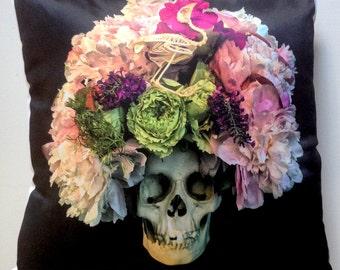 "Dia De Los Muertos Skull with Flowers & Bird Skeleton Pillow 16"" x 16"""