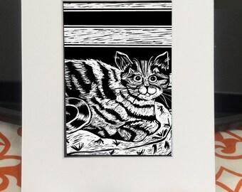 Goofy Tabby Cat digital print from my original artwork, matted