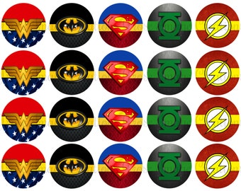 Justic league super heros, 2 inch circles digital sheet, cupcake toppers, Party favor tags *coupon codes in description*