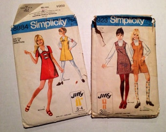 A pair of 1970 Teen Girl's Jiffy Patterns, Simplicity # 8984 & 8923
