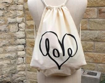LOVE//Screen printed canvas shopping drawstring tote bag backpack