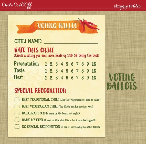 Instant Download Chili Cookoff Voting Ballot / Printable DIY