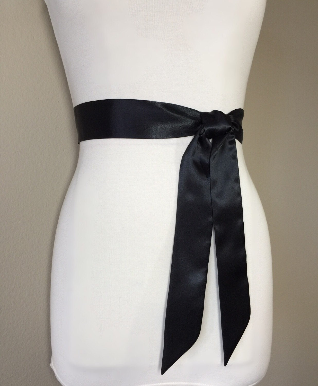 Narrow Black Sash Black Satin Sash Black Sash Belt