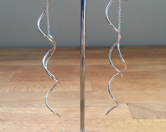 Silver Spiral earline earrings