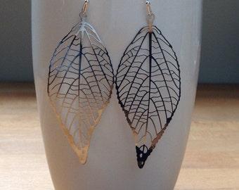 Delicate silver pressed vein filigree leaf earrings