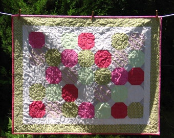 Pink and Green Quilt on SALE !!!!!  Handmade Patchwork in Snowball Pattern.  Made in Maine