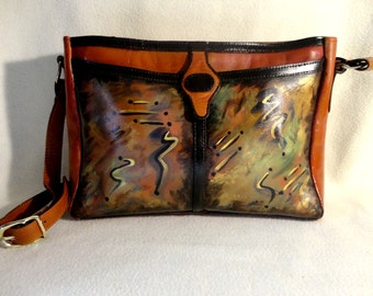 """Vintage Leather Handbag, Hand Painted, """" Fugue State  """" Multiple Compartments, One of a Kind"""