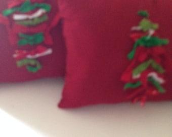 2  Decorative Christmas tree pillows