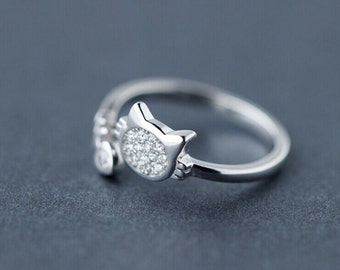 Sterling silver cute kitten ring, kawaii shinning double wrap adjustable ring,lovely cat and fish ring,dainty ring,unique gift.