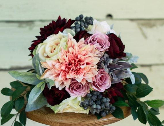 Silk Plum Blush Fall Winter Wedding Bouquet Dahlia Pink Plum