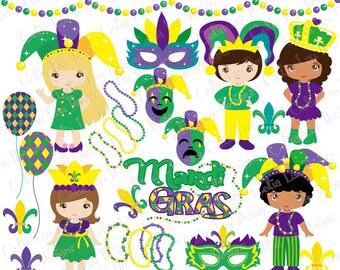 Mardi Gras Clipart, Mardi Gras Clip Art, Mask Clipart, Carnival Clipart , Jester clipart , Beads Clipart (CG206) / INSTANT DOWNLOAD