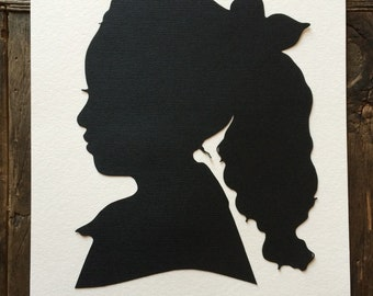 Two Custom Hand Cut Silhouette Portraits: Two Silhouettes  Custom Paper Cut Cameo / Anniversary Portraits