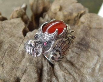 Silver dragon ring with carnelian stone