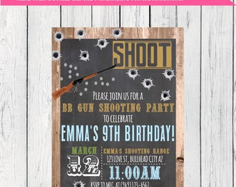 BB Gun Party! Wood & Chalkboard invitation -  Digital File- DIY printing (BB-Gun)