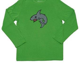 Boys green shark bamboo sun protective shirt