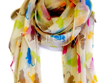 Multi Colour Cat Beige Summer Scarf / Spring Scarf / Gift For Her / Women Scarves / Fashion Accessories