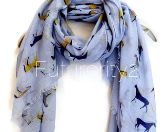Horse Light Blue Scarf / Spring Summer Scarf / Autumn Scarf / Women Scarves / Gifts For Her / Accessories / Handmade