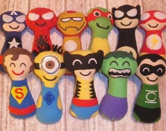 Lot of 3 Super Soft-Safe-Character-Baby-Rattles-Star Wars-Superhero-Seasame Street-Movies-Tv