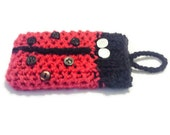 Crochet Lady Bug, Knit Phone Case, Iphone Pocket, Custom Made Crochet, Ladybug Gift, Phone Carry Bag, buttoned cell case, Phone Carrier