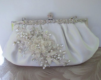 Ivory Satin Swarovksi pearl and crystal Bridal Clutch - silver-ivory satin wedding clutch, bride bridal satin clutch evening bag