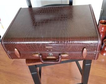 Vintage 1940's - 50's Samsonite Faux Crocodile Suitcase / Luggage