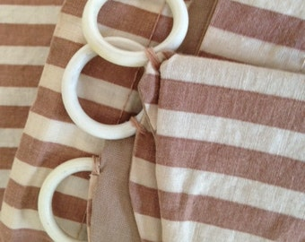 2 Sets (4 Panels) Vintage RETRO Mid-Century CAFE CURTAINS Tan/Cream Stripes with White Plastic Curtain Rings!!!