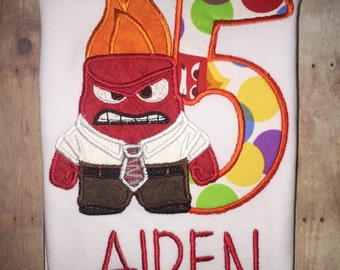 Inside Out Emotions Anger Mad Red Boutique Number Birthday Party Shirt Boy Girl T-Shirt Embroidered Embroidery!