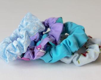 Hair Scrunchies, Floral Scrunchie, Blue Scrunchie, Turquoise Scrunchie, Lilac Scrunchie, Scrunchie, Cotton Scrunchies, Girls Scrunchies