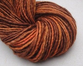 Hand spun yarn, hand dyed yarn, single ply yarn, worsted/bulky yarn, 150 yards, handspun yarn, handdyed yarn