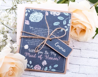 Maid of Honor Card Asking Maid of Honor, Bridesmaids Proposal, Floral Chalkboard Will You Be My Maid Of Honor Card