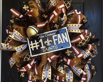 Ready to ship New Orleans Saints wreath, Saints deco mesh wreath, New Orleans deco mesh wreath, New Orleans football wreath, Sports mesh wre