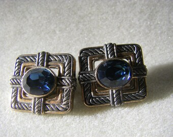 VTG. TWO tone clip on earrings beautiful blue stone
