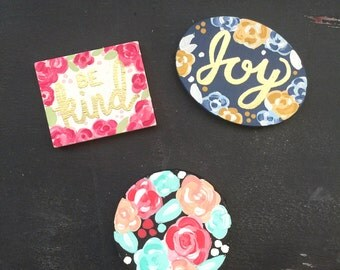 Small Hand Painted Magnets With and Without Embossing 3 shapes available