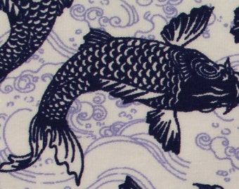 Koi in Navy KNIT by Stenzo Textiles, Premium Euro Cotton - Spandex Jersey Knit, Netherlands 5532