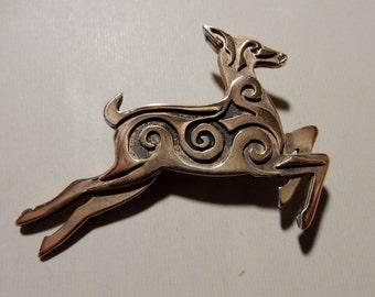 Leaping Deer Pin or Pendant in Bronze