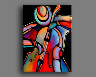 "30"" x 40"" Original Acrylic Paintings Abstract Jazz Musician Art Bass Player by Mike Daneshi. Free Shipping Within U.S.A. and CANADA"