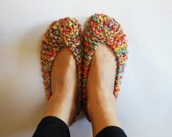 Melange Crochet Women's slippers, NON SLIP,  Chunky Slippers, Hand made home shoes, Footwear, Gift Wrapped, Ballet flats, by NENAKNIT