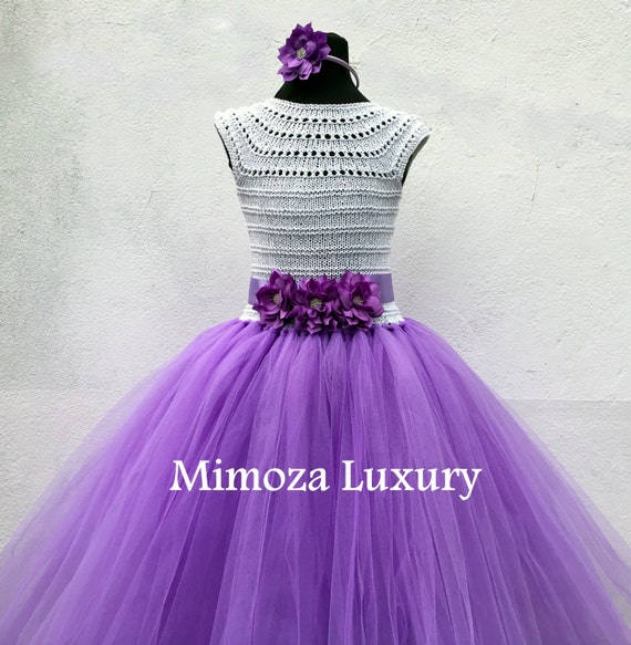 Lilac, Lavender Flower girl dress, tutu dress,bridesmaid dress, princess dress, crochet top tulle dress, hand knit top tutu dress in purple