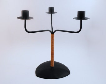 Metal and Rattan Candelabra - Candle Holder from Laurids Lonborg, Denmark
