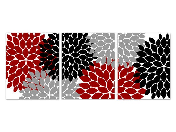 Red Black And Gray Wall Decor : Home decor wall art red grey and black flower burst