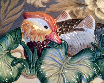 Vintage FITZ & FLOYD Wood Duck Majolica Plate, Hors D'Oeuvre Tray, Hand Painted, Porcelain