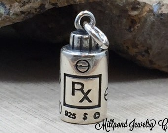 RX Charm, Prescription Charm, Medical Charm, Doctor Charm, Pharmacist Charm, Sterling Silver Charm, Sterling Silver Pendant