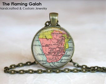SOUTH AFRICA Map Pendant • Vintage South Africa Map • Old South Africa Map • Cape Town • Durban • Gift Under 20 • Made in Australia (P1194)