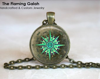 GREEN COMPASS Pendant •  Wanderlust Compass •  Compass Art •  Travel Jewelry • Gift Under 20 • Made in Australia (P1101)