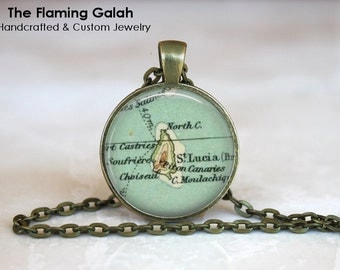 ST LUCIA Map Pendant • Vintage St Lucia • Vintage Caribbean Map • Destination Wedding Gifts • Gift Under 20 • Made in Australia (P0426)