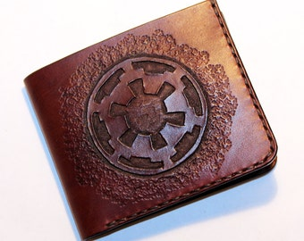 Star Wars Wallet, Wallet With Galactic Empire Sybol, Handmade Wallet, Leather Wallet, Star Wars, Credit Card Wallet,Great Gift!