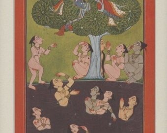 Indian Miniature Painting - Krishna Stealing the Clothes - 1959 printed reproduction, in new light cream foam-backed mat.