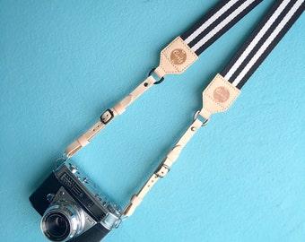Leather Camera strap, Black And White Camera Strap, leather camera Strap